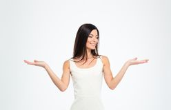Woman presenting copyspace on the palms Royalty Free Stock Photography