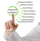 Dimensions of Wellness. Woman presenting Dimensions of Wellness royalty free stock images