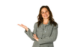 Woman in presenting gesture Stock Photo