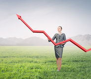 Woman presenting growth concept Stock Images