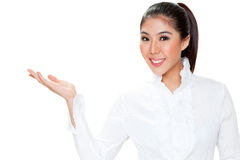 Woman presenting with hand Stock Photography