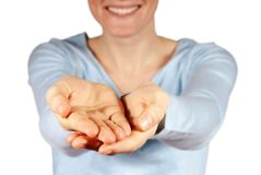 Woman presenting hands with copyspace Stock Image