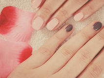 Woman presenting her beautiful painted gel hybrid nails Royalty Free Stock Images