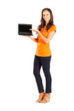 Woman presenting laptop Royalty Free Stock Photos