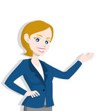 Woman presenting, making a gesture. Isolated on white background Stock Photography