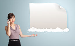 Woman presenting modern copy space Stock Image