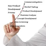 New Product Development Process. Woman presenting New Product Development Process Royalty Free Stock Images