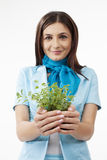 Woman presenting plants Stock Image