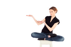 Woman Presenting Pose Royalty Free Stock Photography