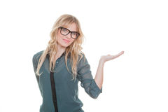 Woman presenting product Royalty Free Stock Photo