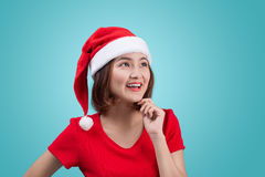 A Woman is presenting something at Chrtstmas, asian Stock Photos
