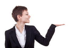 Woman presenting something on her hand Royalty Free Stock Photos