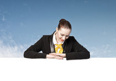 Woman presenting something Stock Photography