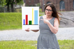 Woman presenting statistical reports. A picture of a woman presenting statistical reports and analysis charts Stock Photography