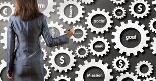 Woman presenting teamwork concept . Mixed media Royalty Free Stock Photo