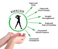 Usefulness of exercising. Woman presenting Usefulness of exercising Royalty Free Stock Photography