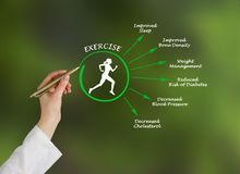 Usefulness of exercising. Woman presenting Usefulness of exercising Royalty Free Stock Images