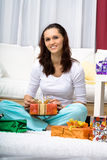 Woman with presents Stock Photo