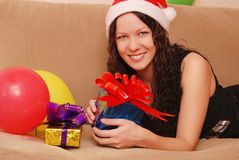 Woman with presents Stock Images