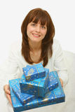 A woman with presents Royalty Free Stock Photography