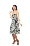 Woman presents. Dress motley full studio show Stock Photo