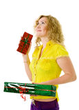 Woman with presents Royalty Free Stock Photography