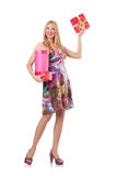 Woman with presents isolated Royalty Free Stock Images