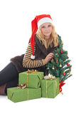 Woman with presents and tree isolated on white Stock Image