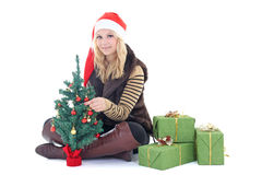 Woman with presents and tree isolated on white Royalty Free Stock Images