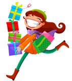 Woman with presents. Young woman carrying shopping bags and presents Stock Photos