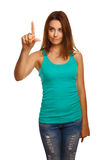 Woman presses touch screen points finger button Royalty Free Stock Images