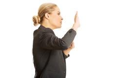 Woman pressing an abstract screen Stock Photos