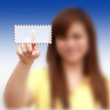 Woman pressing Air mail Stock Photo
