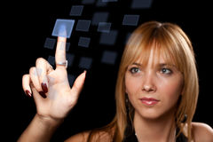 Woman pressing button Stock Image
