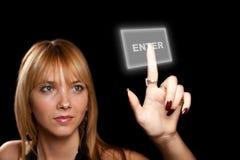 Woman pressing button Stock Photo
