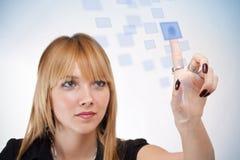 Woman pressing button Stock Photos