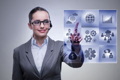 The woman pressing buttons in business concept. Woman pressing buttons in business concept Stock Images