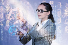 The woman pressing buttons in business concept. Woman pressing buttons in business concept Stock Image