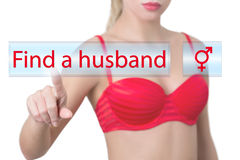 Woman pressing find a husband button Royalty Free Stock Image