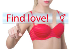Woman pressing find love button Stock Images