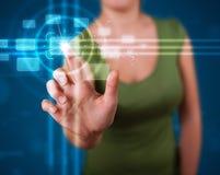 Woman pressing high tech type of modern buttons Stock Photos