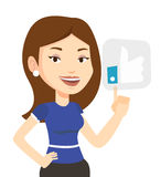 Woman pressing like button vector illustration. Royalty Free Stock Photography