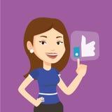 Woman pressing like button vector illustration. Stock Photos