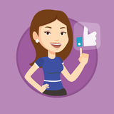 Woman pressing like button vector illustration. Stock Photo