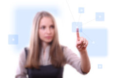 Woman pressing network button Stock Image
