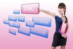 Woman pressing OK button, or  error Stock Images