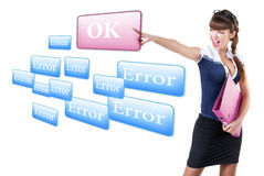 Woman pressing OK button, or  error Stock Photo
