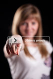 Woman pressing touch screen interface Stock Images