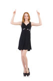 Woman pressing virtual button isolated Stock Photos