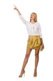 Woman pressing virtual button Stock Image